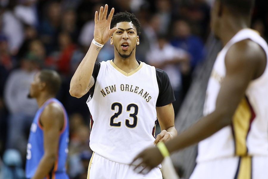 New Orleans Pelicans forward Anthony Davis (23) reacts during the second half of an NBA basketball game against the Oklahoma City Thunder Thursday, Feb. 25, 2016, in New Orleans. The Pelicans won 123-119. (AP Photo/Jonathan Bachman)