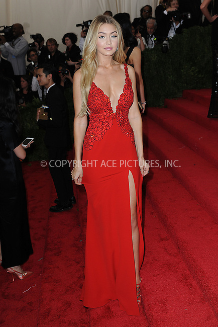 WWW.ACEPIXS.COM<br /> May 4, 2015...New York City<br /> <br /> Gigi Hadid attending the Costume Institute Benefit Gala  celebrating the opening of China: Through the Looking Glass at The Metropolitan Museum of Art on May 4, 2015 in New York City.<br /> <br /> Please byline: Kristin Callahan<br /> ACEPIXS.COM<br /> Tel# 646 769 0430<br /> e-mail: info@acepixs.com<br /> web: http://www.acepixs.com