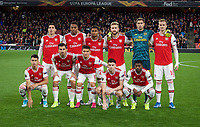 Arsenal pre match team photo (back row l-r) Hector Bellerín, Joe Willock, Reiss Nelson, Shkodran Mustafi, Goalkeeper Emiliano Martínez & Rob Holding (front row l-r) Gabriel Martinelli, Dani Ceballos (on loan from Real Madrid) , Lucas Torreira, Kieran Tierney & Ainsley Maitland-Niles of Arsenal during the UEFA Europa League match between Arsenal and Standard Liege at the Emirates Stadium, London, England on 3 October 2019. Photo by Andrew Aleks.