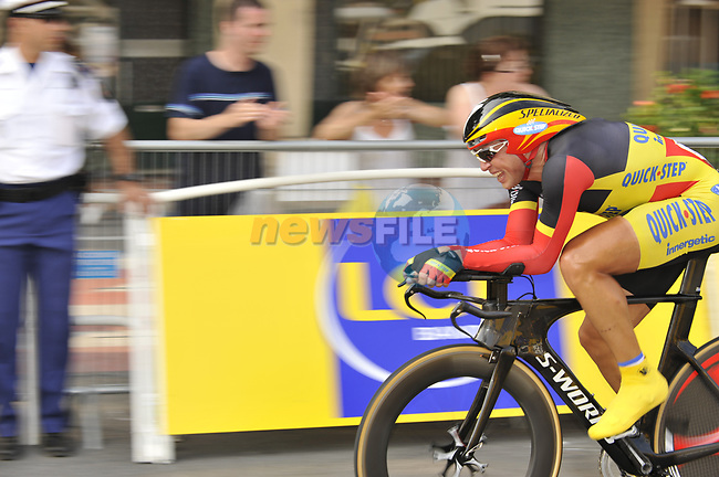 Belgian National Champion Quick Step team rider Stijn Devolder (BEL) in the last kilometre during the Prologue Stage 1 of the 2009 Tour de France a 15.5km individual time trial held around Monaco. 4th July 2009 (Photo by Eoin Clarke/NEWSFILE)