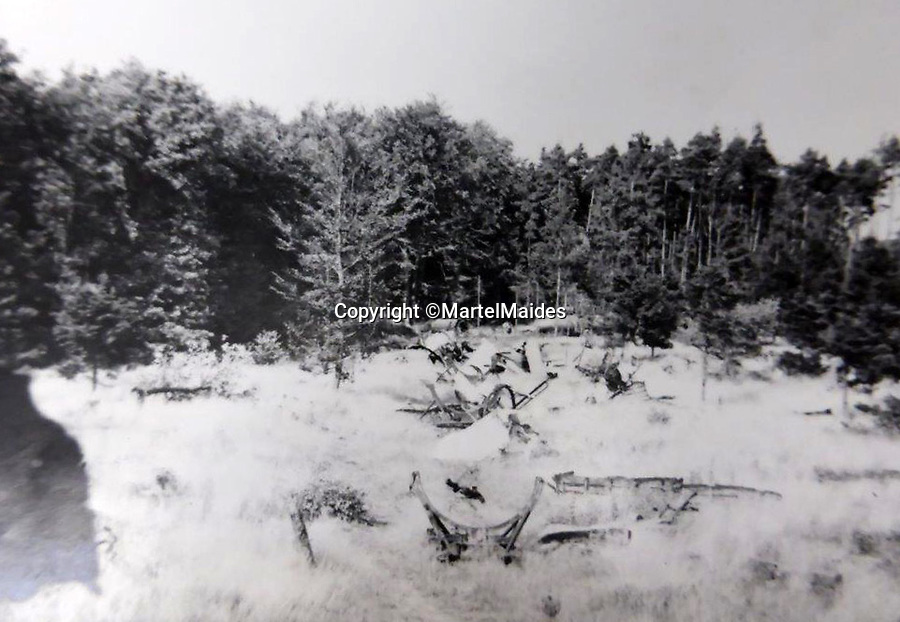 BNPS.co.uk (01202 558833)<br /> Pic: MartelMaides/BNPS<br /> <br /> The remains of the V2 rocket factory deep in the Hahnenberg Forest at Leese near Hanover.<br /> <br /> A fascinating archive of photos that offer an insight into what postwar Germany was like just after the end of WW2 has come to light.<br /> <br /> The incredible album of 262 black and white pictures show the stark aftermath of the war - buildings reduced to rubble in the capital Berlin, a flooded town and an abandoned factory where the Germans made their deadly V-2 rockets.<br /> <br /> They are believed to have been taken by a British soldier who was with Allied forces administrating the war ravaged country a year after the end of hostilities.<br /> <br /> The archive is being sold by Martel Maides on Guernsey on June 9.