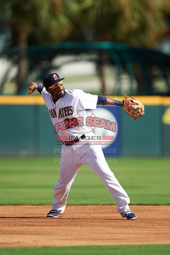 Brevard County Manatees shortstop Wendell Rijo (23) throws to first during a game against the Daytona Tortugas on August 14, 2016 at Space Coast Stadium in Viera, Florida.  Daytona defeated Brevard County 9-3.  (Mike Janes/Four Seam Images)