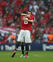 Manchester United's Romelu Lukaku and Ander Herrera celebrate at the end of the game<br /> <br /> Photographer Rob Newell/CameraSport<br /> <br /> Emirates FA Cup - Emirates FA Cup Semi Final - Manchester United v Tottenham Hotspur - Saturday 21st April 2018 - Wembley Stadium - London<br />  <br /> World Copyright &copy; 2018 CameraSport. All rights reserved. 43 Linden Ave. Countesthorpe. Leicester. England. LE8 5PG - Tel: +44 (0) 116 277 4147 - admin@camerasport.com - www.camerasport.com