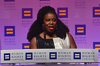 "Washington, DC - October 28, 2017: Actress Uzo Aduba speaks at the Human Rights Campaign's National Dinner held at the Washington Convention Center, October 28, 2017, after receiving the ""Ally for Equality Award.""  (Photo by Don Baxter/Media Images International)"