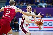 7th September 2017, Fenerbahce Arena, Istanbul, Turkey; FIBA Eurobasket Group D; Latvia versus Turkey; Point Guard Janis Strelnieks #13 of Latvia passes the ball