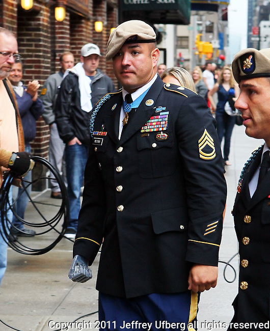 """September 7, 2011 New York: Sgt. 1st Class Leroy Petry visits """"Late Show with David Letterman"""" at the Ed Sullivan Theatre on September 7, 2011 in New York"""