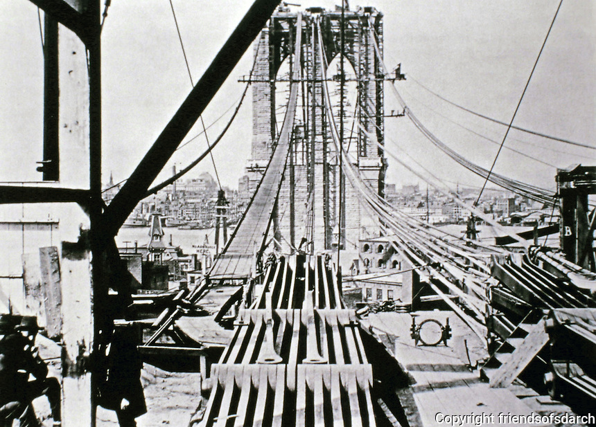 Workers on Brooklyn Bridge--historical photograph. New York City. Started construction in 1870.