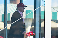 President Trump looks out towards the 18th green during Sunday's final round of the 72nd U.S. Women's Open Championship, at Trump National Golf Club, Bedminster, New Jersey. 7/16/2017.<br /> Picture: Golffile | Ken Murray<br /> <br /> <br /> All photo usage must carry mandatory copyright credit (&copy; Golffile | Ken Murray)