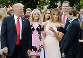 US President Donald Trump , Tiffany Trump, First Lady Melania Trump , Eric Trump and Barron Trump attend the annual Easter Egg Roll on the South Lawn of the White House  in Washington, DC, on April 17, 2017. <br /> Credit: Olivier Douliery / Pool via CNP