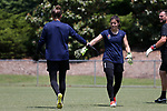 CARY, NC - MAY 10: Sabrina D'Angelo (1) and Katelyn Rowland (left). The North Carolina Courage held a training session on May 10, 2017, at WakeMed Soccer Park Field 7 in Cary, NC.
