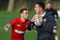 Picture by Alex Whitehead/SWpix.com - 30/10/2013 - Rugby League - Rugby League World Cup - England Training - Loughborough, England - Sam Burgess and Kevin Sinfield.