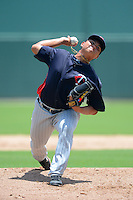 GCL Twins pitcher Chih-Wei Hu (55) during a game against the GCL Red Sox on July 19, 2013 at JetBlue Park at Fenway South in Fort Myers, Florida.  GCL Red Sox defeated the GCL Twins 4-2.  (Mike Janes/Four Seam Images)