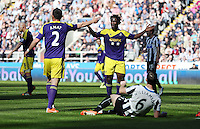 Pictured: Wilfried Bony of Swansea (C) protesting to the assistant referee after his shot at goal was ruled off side. Saturday 19 April 2014<br /> Re: Barclay's Premier League, Newcastle United v Swansea City FC at St James Park, Newcastle, UK.