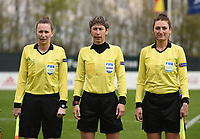 20190403  - Tubize , BELGIUM : referee Elvira Nurmustafina (M) with assistant referees Sina Diekmann (L) and Elena Alistratova (R) pictured during the soccer match between the women under 19 teams of Belgium and Switzerland , on the first matchday in group 2 of the UEFA Women Under19 Elite rounds in Tubize , Belgium. Wednesday 3 th April 2019 . PHOTO DIRK VUYLSTEKE / Sportpix.be