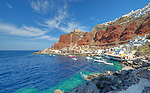 The small port of Amoudi Bay which sits at the foot of the village of Oia in Santorini, Greece.