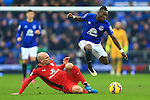 Christian Atsu of Everton skips past Leicester's Esteban Cambiasso - Everton vs. Leicester City - Barclay's Premier League - Goodison Park - Liverpool - 22/02/2015 Pic Philip Oldham/Sportimage