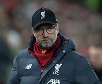 30th October 2019; Anfield, Liverpool, Merseyside, England; English Football League Cup, Carabao Cup, Liverpool versus Arsenal; Liverpool manager Jurgen Klopp looks on from the technical area as the match kicks off - Strictly Editorial Use Only. No use with unauthorized audio, video, data, fixture lists, club/league logos or 'live' services. Online in-match use limited to 120 images, no video emulation. No use in betting, games or single club/league/player publications
