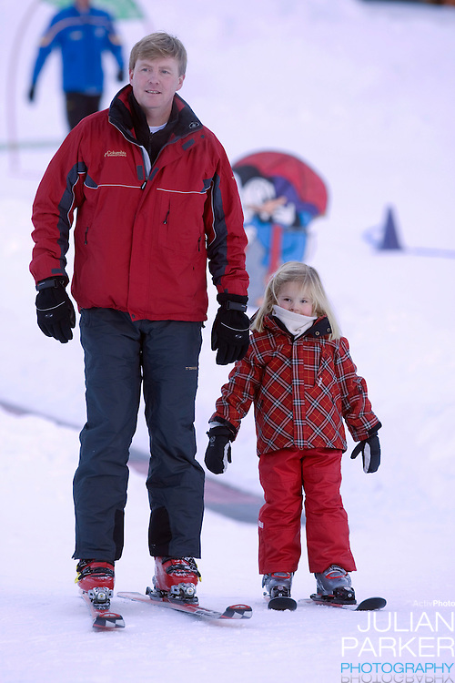 Crown Prince Willem Alexander of Holland with Daughter Princess Catharina Amalia, attend a Photocall with Members of The Dutch Royal Family during their Winter Ski Holiday in Lech Austria