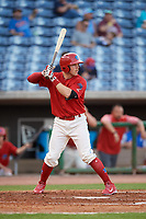 Clearwater Threshers designated hitter Henri Lartigue (4) at bat during a game against the Jupiter Hammerheads on April 9, 2018 at Spectrum Field in Clearwater, Florida.  Jupiter defeated Clearwater 9-4.  (Mike Janes/Four Seam Images)
