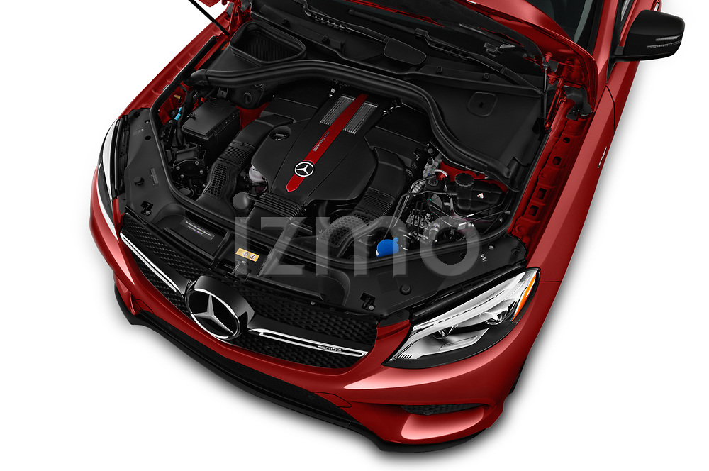 Car stock 2019 Mercedes Benz GLE-Class Coupe GLE43 AMG 4MATIC 5 Door SUV engine high angle detail view