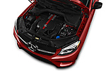 Car stock 2018 Mercedes Benz GLE-Class Coupe GLE43 AMG 4MATIC 5 Door SUV engine high angle detail view