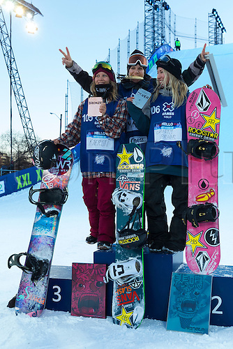 27.02.2016. Toyen, Big Jump Oslo, Norway.  Red Bull X Games Oslo 2016. Ladies Snowboard Big Air Final. L-R Kjersti Oestgaard Buaas of Norway, Cheryl Maas of France and Christy Prior of New Zealand celebrate on the podium  during the Ladies Snowboard Big Air Final at the Red Bull X Games Oslo 2016 in Toyen Big Jump  Oslo, Norway.
