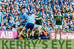 Sean O'Shea, Kerry in action against Michael Fitzsimons, and Jack McCaffrey, Dublin during the GAA Football All-Ireland Senior Championship Final match between Kerry and Dublin at Croke Park in Dublin on Sunday.