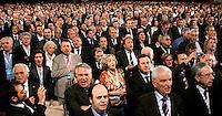 Delegati cantano l'inno nazionale durante l'apertura del congresso fondativo del PdL, partito del Popolo della Liberta', alla Nuova Fiera di Roma, 27 marzo 2009..Delegates sing the national anthem during the opening of the Foundation Congress of the People of Freedom center right party in Rome, 27 march 2009..UPDATE IMAGES PRESS/Riccardo De Luca