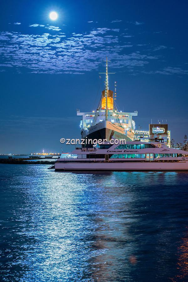 Long Beach, CA, RMS Queen Mary, full blue moon rising,