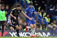 Aleksandar Dragovic of Leicester city and Alvaro Morata of Chelsea during Chelsea vs Leicester City, Premier League Football at Stamford Bridge on 13th January 2018