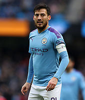 26th January 2020; Etihad Stadium, Manchester, Lancashire, England; English FA Cup Football, Manchester City versus Fulham; David Silva of Manchester City