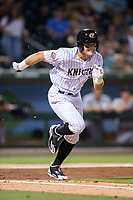 Adam Engel (7) of the Charlotte Knights hustles down the first base line against the Indianapolis Indians at BB&T BallPark on June 16, 2017 in Charlotte, North Carolina.  The Knights defeated the Indians 12-4.  (Brian Westerholt/Four Seam Images)