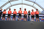 CCC Team on stage at sign on before the 2019 Gent-Wevelgem in Flanders Fields running 252km from Deinze to Wevelgem, Belgium. 31st March 2019.<br /> Picture: Eoin Clarke | Cyclefile<br /> <br /> All photos usage must carry mandatory copyright credit (© Cyclefile | Eoin Clarke)