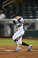 Salt River Rafters Victor Victor Mesa (10), of the Miami Marlins organization, at bat during an Arizona Fall League game against the Naranjeros de Hermosillo on September 24, 2019 at Salt River Fields at Talking Stick in Phoenix, Arizona. Salt River defeated Hermosillo 4-1. The Naranjeros, of the Mexican Pacific League, played in Scottsdale as part of the Mexican baseball Fiesta. (Zachary Lucy/Four Seam Images)