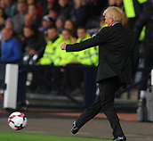 5th October 2017, Hampden Park, Glasgow, Scotland; FIFA World Cup Qualification, Scotland versus Slovakia;  Manager Gordon Strachan plays the ball back into play