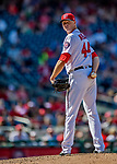 14 April 2018: Washington Nationals pitcher Ryan Madson checks the runner at first in the 8th inning against the Colorado Rockies at Nationals Park in Washington, DC. The Nationals rallied to defeat the Rockies 6-2 in the 3rd game of their 4-game series. Mandatory Credit: Ed Wolfstein Photo *** RAW (NEF) Image File Available ***