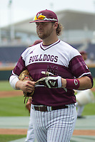 Mississippi State first baseman Wes Rea (35) before  Game 11 of the 2013 Men's College World Series against the Oregon State Beavers on June 21, 2013 at TD Ameritrade Park in Omaha, Nebraska. The Bulldogs defeated the Beavers 4-1, to reach the CWS Final and eliminating Oregon State from the tournament. (Andrew Woolley/Four Seam Images)