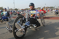 (031102-SWR085.jpg) Staten Island, New York -- 2 Nov 03 - Antonio Barbarano of Archilles Heel line up for the Wheelchair Division of the New York City Marathon.