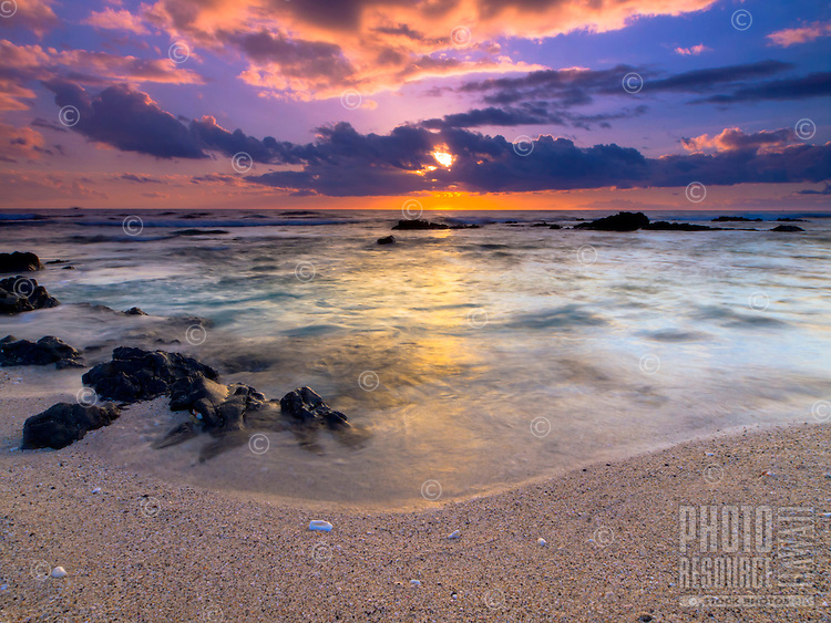 A beautiful sunset at Pine Trees Beach (a.k.a. Kohanaiki Beach Park), Big Island.