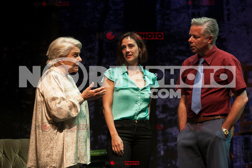 Spanish actress Lola Herrera, Luz Valdenebro and Camilo Rodriguez perform during `El lago dorado´ theater play in Madrid, Spain. August 17, 2015. (ALTERPHOTOS/Victor Blanco)