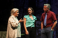 Spanish actress Lola Herrera, Luz Valdenebro and Camilo Rodriguez perform during `El lago dorado´ theater play in Madrid, Spain. August 17, 2015. (ALTERPHOTOS/Victor Blanco)