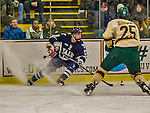 4 January 2014:  Yale University Bulldogs forward Frankie DiChiara, a Freshman from Ronkonkoma, NY, in first period action against the University of Vermont Catamounts at Gutterson Fieldhouse in Burlington, Vermont. With an empty net and seconds remaining, the Cats came back to tie the game 3-3 against the 10th seeded Bulldogs. Mandatory Credit: Ed Wolfstein Photo *** RAW (NEF) Image File Available ***