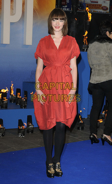 Dakota Blue Richards.'The Life Of Pi' UK film premiere, Empire cinema, Leicester Square, London, England.3rd December 2012.full length leopard print shoes black tights red dress  .CAP/CAN.©Can Nguyen/Capital Pictures.