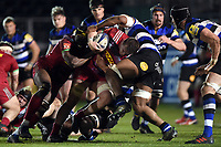 Harlequins A take on the Bath United defence. Aviva A-League match, between Bath United and Harlequins A on March 26, 2018 at the Recreation Ground in Bath, England. Photo by: Patrick Khachfe / Onside Images