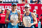 Zhang Shuai of China (L) and Samantha Stosur of Australia (R) pose for photo with trophy after winning against Lidziya Marozava of Belarus and Shuko Aoyama of Japan during the doubles final match at the WTA Prudential Hong Kong Tennis Open 2018 at the Victoria Park Tennis Stadium on 14 October 2018 in Hong Kong, Hong Kong.<br /> Photo by Yu Chun Christopher Wong / Power Sport Images