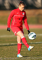 COLLEGE PARK, MARYLAND - April 03, 2013:  Caroline Miller (10) of The Washington Spirit before the game against the University of Maryland women's soccer team in a NWSL (National Women's Soccer League) pre season exhibition game at Ludwig Field in College Park Maryland on April 03. Maryland won 2-0.