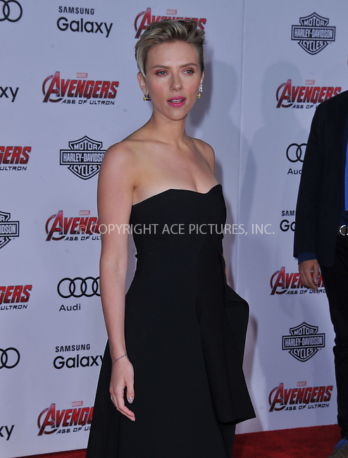 WWW.ACEPIXS.COM<br /> <br /> April 13 2015, LA<br /> <br /> Actress Scarlett Johansson arrives at the Premiere Of Marvel's 'Avengers: Age Of Ultron' at the Dolby Theatre on April 13, 2015 in Hollywood, California.<br /> <br /> <br /> By Line: Peter West/ACE Pictures<br /> <br /> <br /> ACE Pictures, Inc.<br /> tel: 646 769 0430<br /> Email: info@acepixs.com<br /> www.acepixs.com