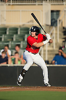 Mason Robbins (10) of the Kannapolis Intimidators at bat against the Greensboro Grasshoppers at CMC-Northeast Stadium on August 1, 2015 in Kannapolis, North Carolina.  The Intimidators defeated the Grasshoppers 7-4.  (Brian Westerholt/Four Seam Images)