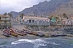 fishing boats on Ponta so Sol harbour. Santo Antao island..Port aux barques de pecheurs multicolores de Ponta do Sol. .ile de Sao Antao