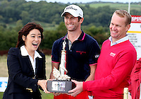 Gregory Bourdy (FRA, is pictured with Midori Miyazaki Chief Executive of the Celtic Manor Dylan Matthews, and  wins the 2013 ISPS Handa Wales Open from the Celtic Manor Resort, Newport, Wales. Picture:  David Lloyd / www.golffile.ie